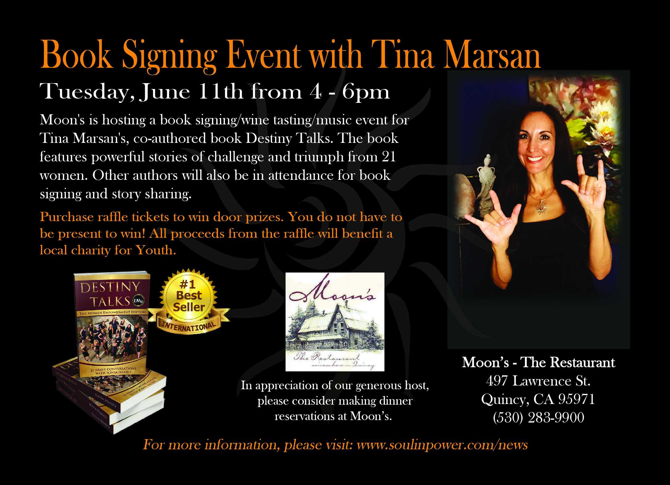 Book signing event at Moon's with Tina Marsan